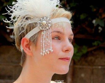 1920s headpiece, silver and white Gatsby headband, flapper headband, 1920s wedding, 1920s headband, Gatsby wedding, Gatsby dress,