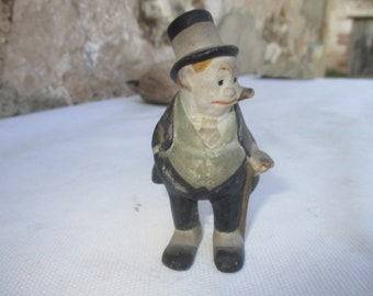 """Jiggs Small Figurine from """"Maggie & Jiggs (Bringing up Father) Comic Strip USA 1920s.  Unmarked But would have been issued by King Features."""