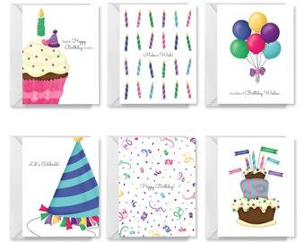 Printable Birthday Card, PDF Birthday Card, DIY Birthday Card, Happy Birthday Card Set, Assorted Birthday Cards, Kids Assorted Birthday Card
