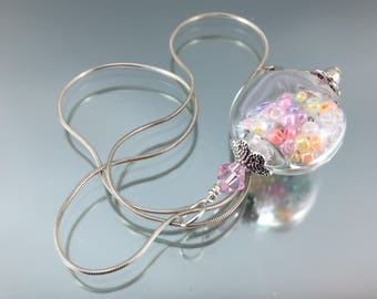 """16"""" sterling silver necklace, hollow lampwork glass, pastel seed beads, princess necklace, little girl necklace, artisan crafted pendant"""