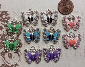 SET of MIX 10 Tibetan Silver Beautiful Colorful Enamel Butterfly Charms with Rhinestones