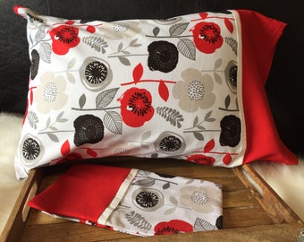 Poppys and Modern Art Flowers/Pillowcase/Pillowcasesforcancer/Childhood Cancer Donation with each purchase!