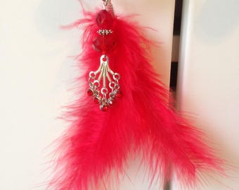 Red door decoration, feather and rhinestone