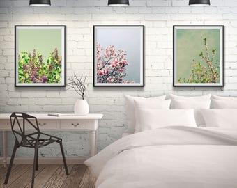 Cottage Wall Art - Farmhouse Decor - Art Print Collection - Bedroom Wall Art - Flower Photography - Mint Green - Flower Art - Blue Pink