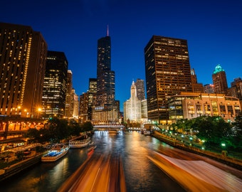 Boat traffic on the Chicago River at night, in Chicago, Illinois. Photo Print, Metal, Canvas, Framed.