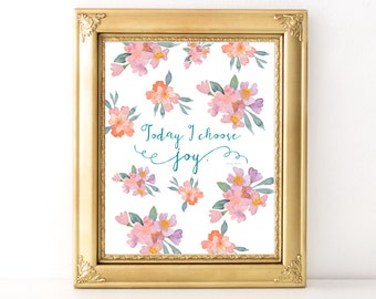 I Choose Joy Print / Every Day Spirit / Inspirational Quote / Wall Art Illustration / Encouraging Quote / Dorm Decor / Joy Quote
