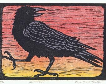 Sunset Crow Reduction Block Print