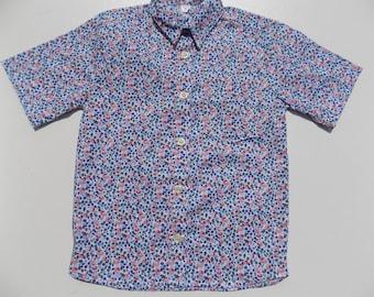 Top, boy clothing, floral, pink-blue shirt printed shirt, short sleeves, boy, 2, 3 years, 4, 5, 6 years, 7, 8