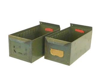Two Vintage Olive Green Metal Industrial Drawers. Metal File Drawers, Organizer Drawers, Metal Parts Drawers