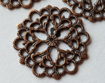 Antiqued Copper Filigree Findings Connectors 29mm (6)