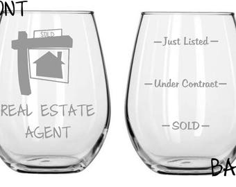 Real Estate Agent Sand Etched Glass FREE Personalization