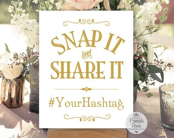 Gold Matte Printable Social Media Sign, Hashtag Sign, Instagram, Snap It and Share It, Wedding, Party, Business (#SOC6G)