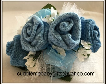 Baby Sock Corsage Baby Boy Baby Shower Sock Corsage