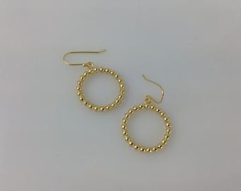Gold Circle Earrings, Karma Earring, Circle Earrings, Gold  Earrings, Modern Earrings, Dangle drop circle earring