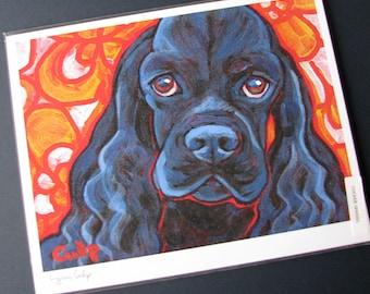 Black COCKER SPANIEL Dog 8x10 Signed Art Print from Painting by Lynn Culp