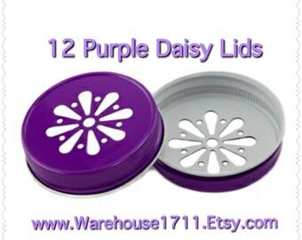 Mason Jar Lids ~ 12 ~ Daisy Lids ~ (Purple)/Party Jar Lids/Wedding Jar Lids/Anniversary Jar Lids