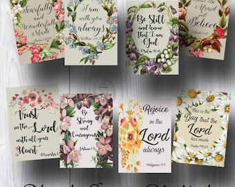 """Bible Verses Tags; Scripture Art; Gift Tags; Inspirational Bible Verses; Collage Sheet; 2.5"""" x 3.5""""; JPG; Printable; Instant Download"""