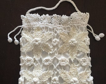 LIM'S Vintage Hand Crochet Drawstring Pouch With Sequins Lined With Satin Color White