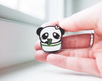 Panda Bear Bamboo Pin - Silver Enamel Pin - Cute Panda - Panda Rice Bowl - Panda Pin - Enamel Pin