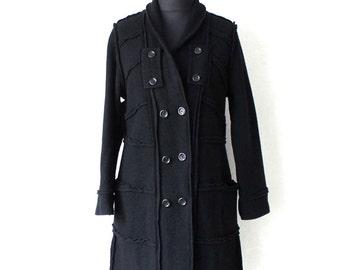 Black Boiled Double Breasted Coat Jacket Wool Coat Large Size