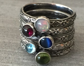 Sterling silver boho rustic sterling silver stack ring with gemstone