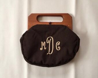 COFFEE BROWN wool handbag | 1950s wooden handles monogram letters bag