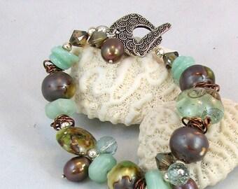 Beautiful JADE Artisan Lampwork and Freshwater Pearl Silver Bracelet  (BR 198)