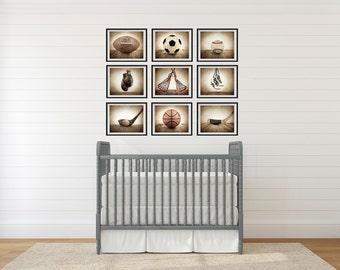 Sports Wall Art,  Set of Nine photo prints, Boys Nursery Decor, Rustic sports Decor, Vintage Sports art, Boys Sports room