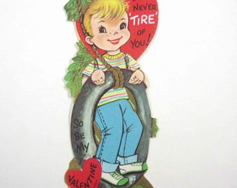 Vintage Unused Valentine Greeting Card with Cute Blonde Boy in Tire Swing Tree Jeans Striped Shirt