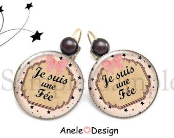Fairy - stars pearls earrings black white pink