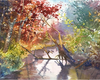 River painting watercolor Painting PRINT Fall Birch Trees Landscape  Stream reflections GICLEE