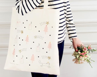 """Glittery & Eco-friendly cotton Tote bag """"Falling stars"""" - 100% natural and fair trade / Organic / Illustration - Cat/mountain/ Gold/Glitters"""