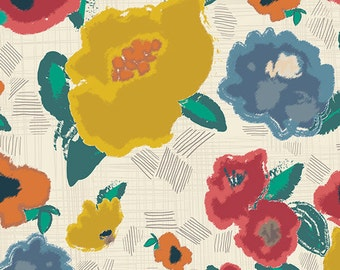 Modern Floral Fabric by the yard - Art Gallery Fabrics Artisan Ad Lib Blooms Shout