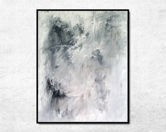 Original Abstract Painting, Abstract Wall Art, Gray Abstract Art, Light Modern Art, Canvas Art Painting, 16x20 Abstract Art, White Art