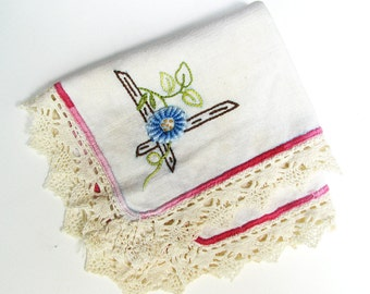 Embroidered Linen Napkin, Flower Embroidery with Crochet Lace Edging