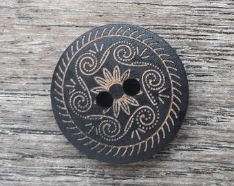 5 buttons, wood, ethnic print, 18mm