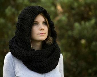 Black Hooded Scarf, Black Scoodie, Crochet Scarf with Hood