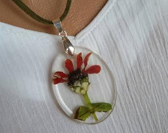 Epoxy resin pendant necklace Flower pendant ECO Dried Flower pendant Botanical pendant with pressed flowers Christmas gift