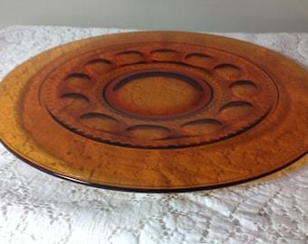 Vintage Glass Platter Amber Glass Serving Platter