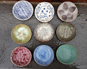 "items ""BN - BV"": Small Pottery Dish, Small Dish, Multi Purpose Stoneware Dish, jewelry, soap, food prep, dipping, candle, tea bag"