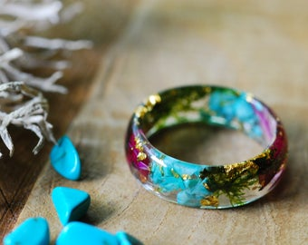 Turquoise Ring, Raw Stone Ring, Flower Resin Ring, Gemstone Ring, Boho Ring, Blue Ring, Birthstone Ring, Girlfriend, Raw Turquoise Jewelry