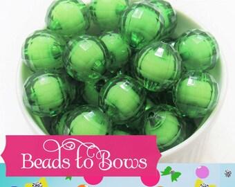 20mm Green Bead In A Bead, Bubblegum Beads, Faceted Chunky Beads, Transparent Bubblegum Bead, Chunky Necklace Supply Bead, Jewelry Bead