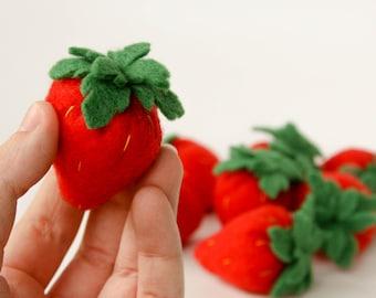 Felt Food Pretend Play Strawberries, lifelike Handmade Play Food, Play Kitchen