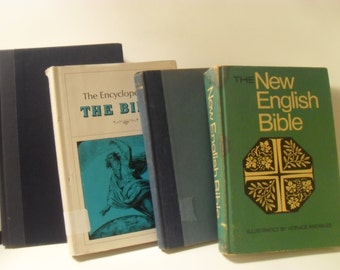 Set of Vintage Biblical Reference Books, Bible, and Sermon Collection-The Encyclopedia of the Bible, Harper's Topical Concordance