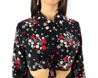 1970s MY MICHELLE black crop top floral print blouse