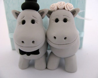 Hippo wedding cake topper, cute bride and groom, polymer clay, wedding decor, gray