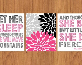 Let Her Sleep For When She Wakes And Though She Be But Little She is Fierce Hot Pink Black Nursery Wall Art Flower Burst set of Three (54)