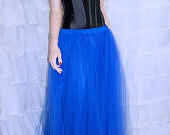 Formal Royal Blue Floor Length  bridesmaid Tulle Skirt Adult All Sizes MTcoffinz