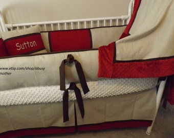 neutral Baby bedding Crib Sets Linen REd and Taupe  Custom Baby Bumper  Crib Set DEPOSIT Down payment only