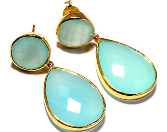 925 Sterling silver Aqua Chalcedony Gemstone Earrings Vermeil gold Plated